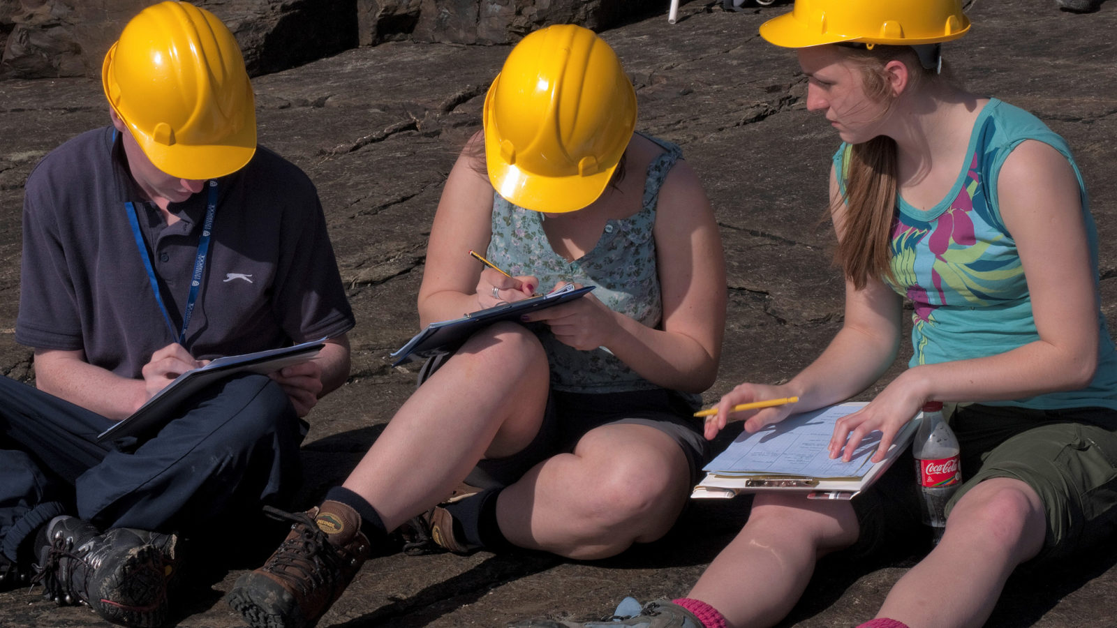 Students wearing hard hats