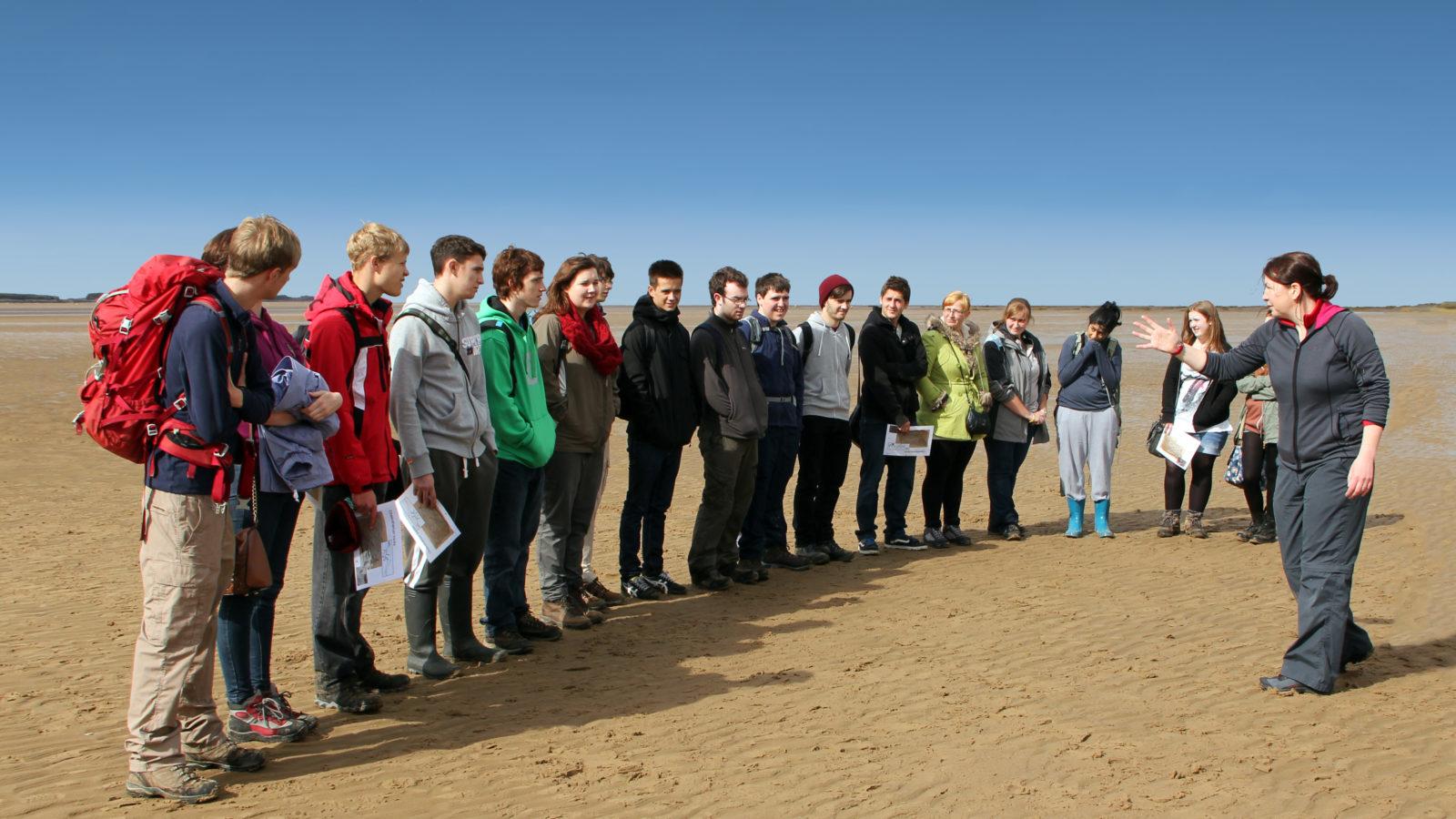 Field class on West Kirby beach