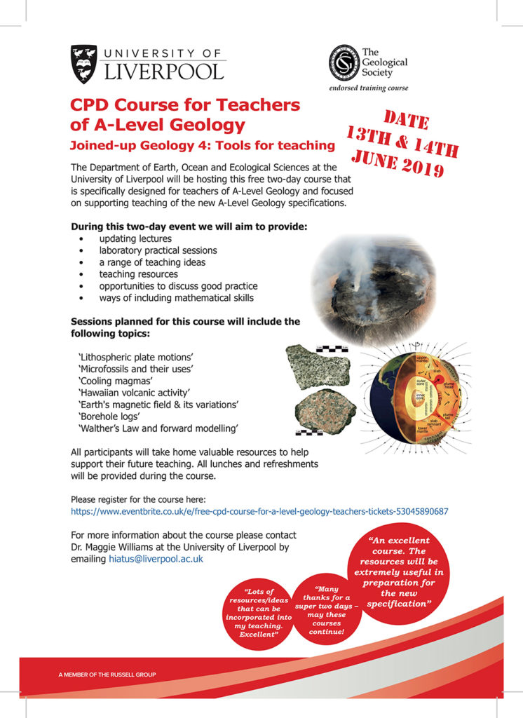 CPD Course for Teachers of A-Level Geology